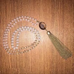 Loft | Pink & Gold Long Tassel Necklace